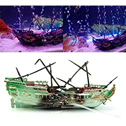 m·kvfa Aquarium Landscaping Large Broken Boat Shape Fish Tank Ornaments Separated Sunk Shipwreck Wreck Decor Adds More Nature and Historical Factors