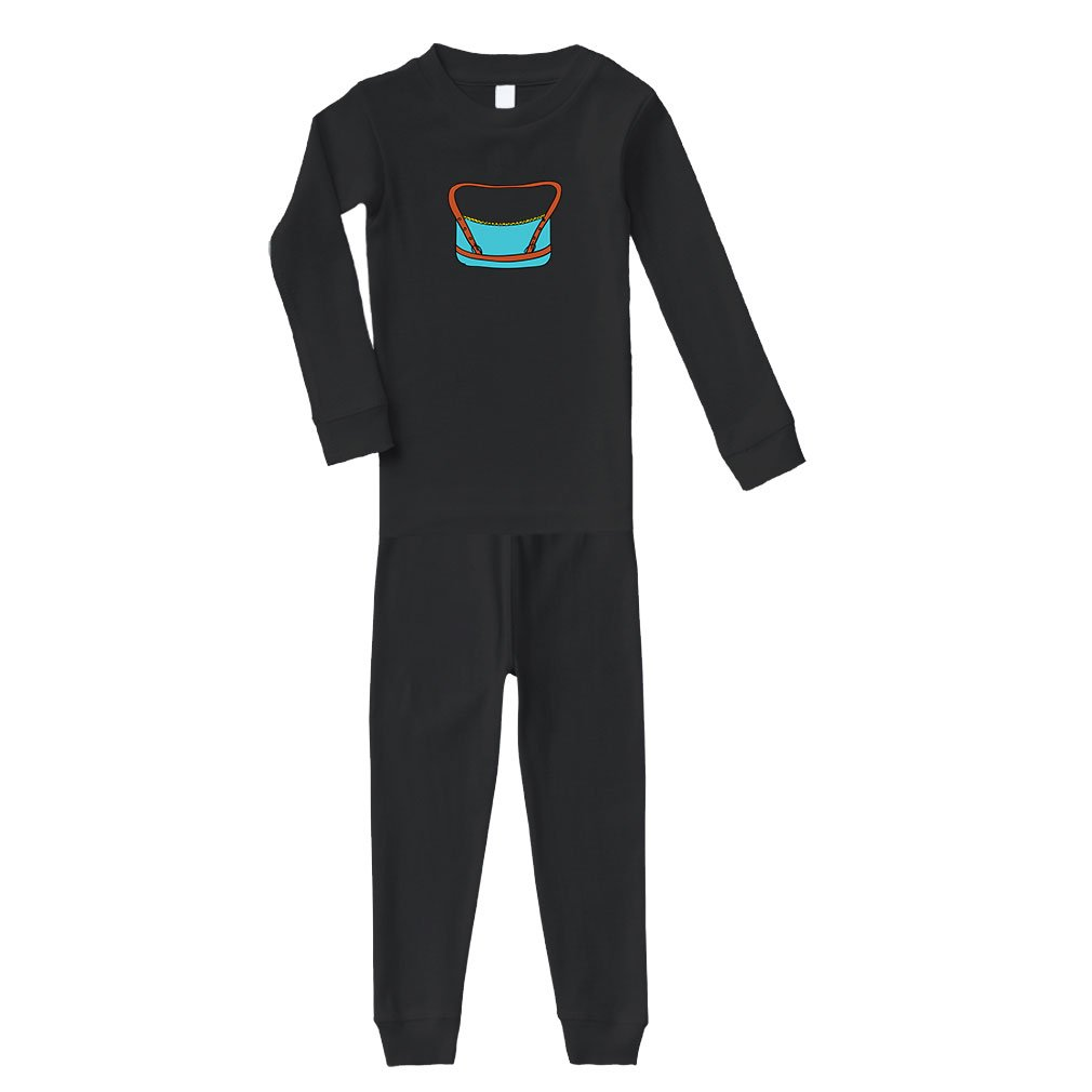 Cute Rascals Purse Blue Little Cotton Long Sleeve Crewneck Unisex Infant Sleepwear Pajama 2 Pcs Set Top and Pant - Black, 2T by Cute Rascals