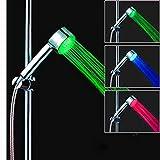 MOVEmen Shower Automatic 7Color Changing LED Bathroom Shower Head Water Home Glow Bathroom Hand Shower High Pressure Adjustable Shower Head Top Spray Bathroom Water Saver Garden Shower