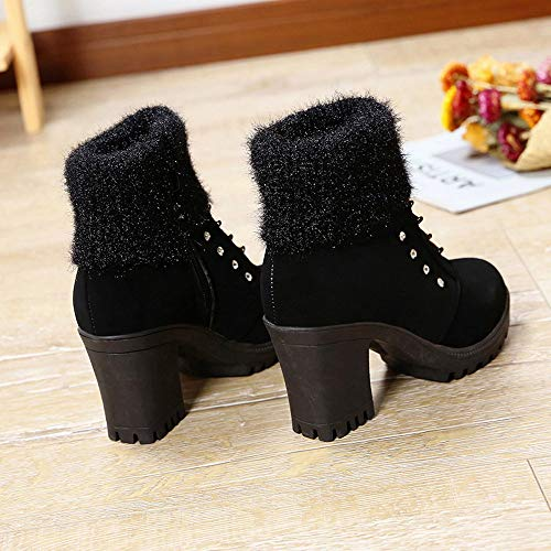 Ankle Black Detail Square Shoes Heel OverDose Crystal Women's Martin Cheap Heel Boots Block Boots Bootie Boots Short Stud Ladies High qxEOgH