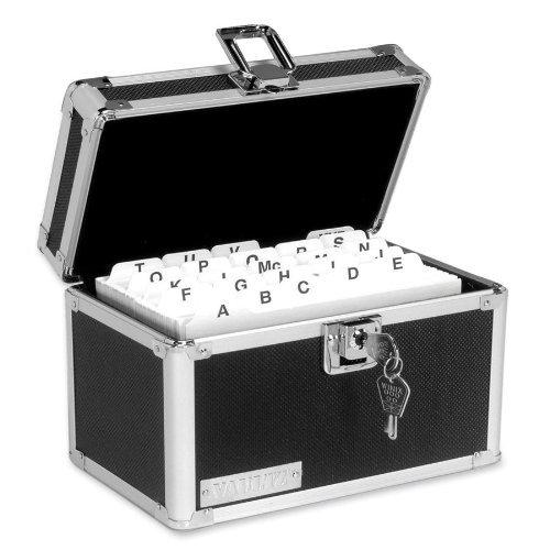 Vaultz Vaultz Locking Index Card File with Flip Top Holds 450 4 x 6 Cards, Black (Box Index Locking)