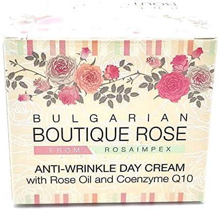 Crema Antiarrugas de Día con Coenzima Q10 y Aceite Natural de Rosa de Boutique Rose, Sin Parabenos, Sin Conservantes
