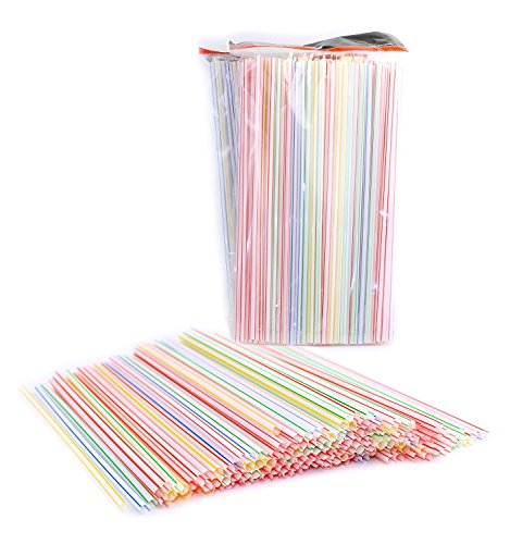 Pack of 450 Disposable Plastic Straight Straws, Assorted Colors, Striped 9