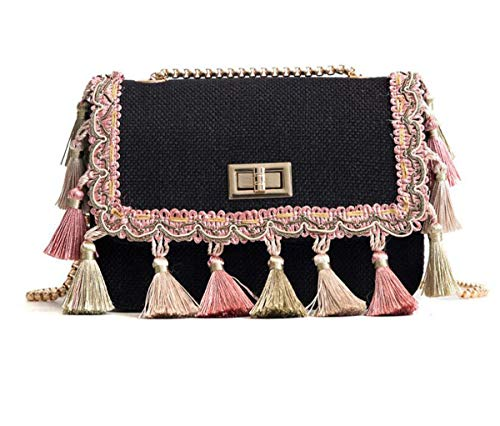 GSHGA Borsa femminile a catena stile etnico Nappa Canvas Piccola borsa quadrata selvaggia diagonale spalla totes Elegante borsa Black