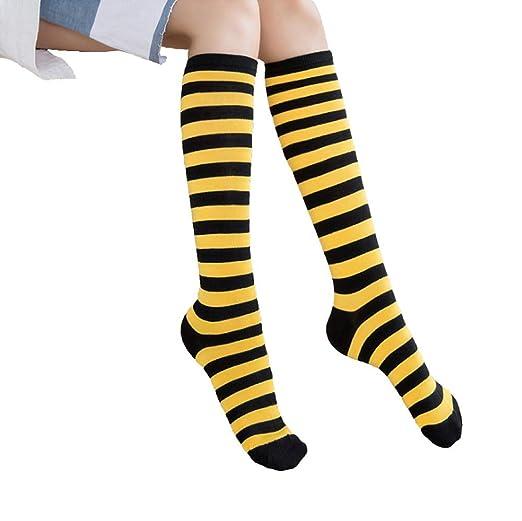 Dusenly 5 pares de calcetines altos para mujer con dise/ño de rayas en la rodilla