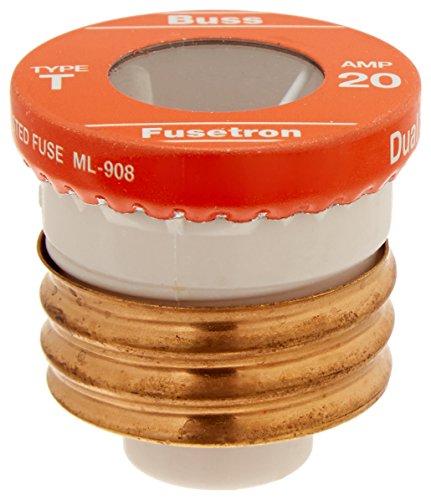 Fusetron Plug Fuse - Bussmann BP/T-20 20 Amp Type T Time-Delay Dual-Element Edison Base Plug Fuse, 125V Ul Listed Carded, 2-Pack
