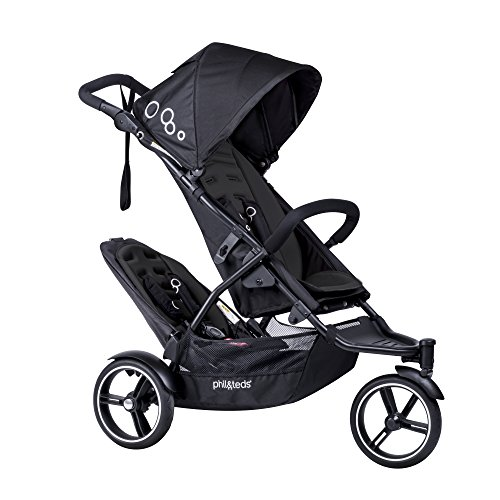 phil&teds Dot Compact Inline City Stroller with Double Kit, Black - Compact Frame with Full Size Seat - Newborn Ready - Parent Facing Seat Included - Compact, One Hand Fold - Puncture Proof Tires