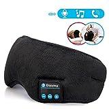Sleep Headphones,Lavince Wireless Bluetooth Headphones Music Travel Sleeping Headset 4.2 Bluetooth Eye Mask Handsfree Sleep Eye Shades Built-in Speakers Microphone Washable Black