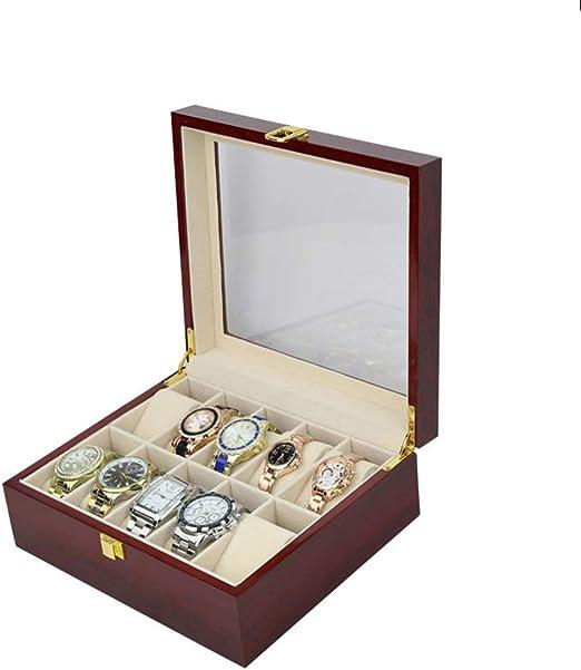 Caja de reloj Caja de reloj de madera 10 Ranura Caja de regalo ...