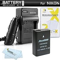 Batería y kit de cargador para Nikon D5300, D3300, D5200, P7700, D5100, D3100, D3200, Cámara digital SLR Nikon Df incluye reemplazo extendido (1500Mah) para Nikon EN-EL14. Batería EN-EL14a (¡completamente decodificada!) + Cargador de viaje Ac /Dc + tela