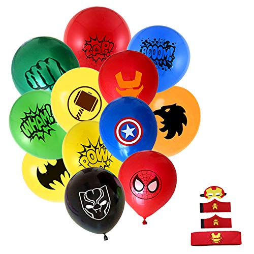 NF Orange Superhero Justice League DC Avenger Balloon Bundle 12 pcs and Iron Man(Eye mask, Wrist and Belt]()