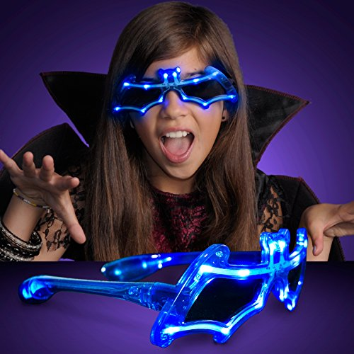 Blue Bat Shaped Light Up Flashing LED - Sunglasses Bam