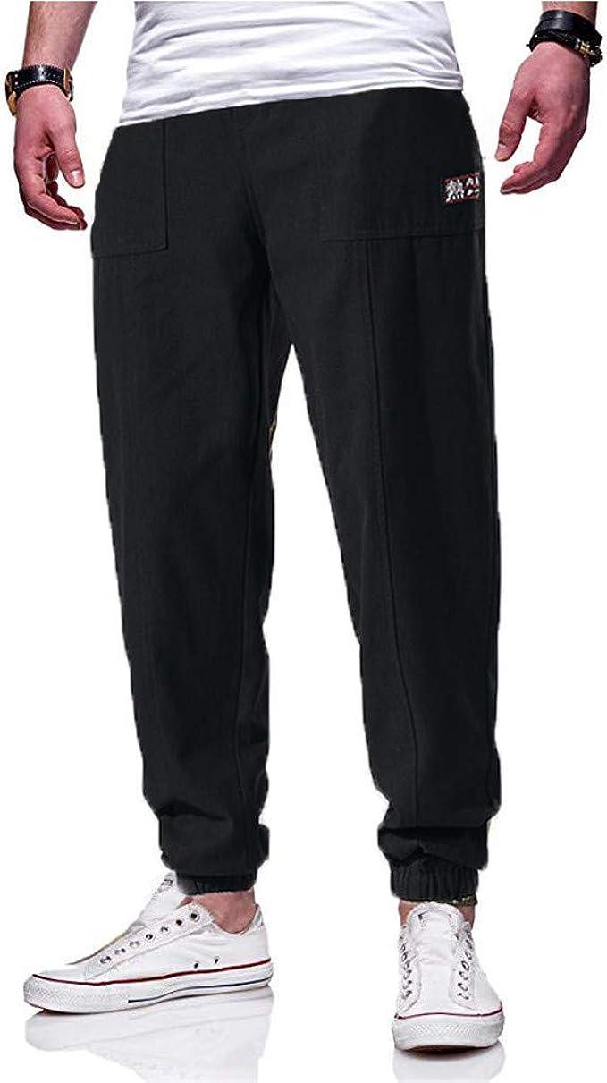 Reooly Pantalones Casuales para Hombres de Moda Simple Color ...