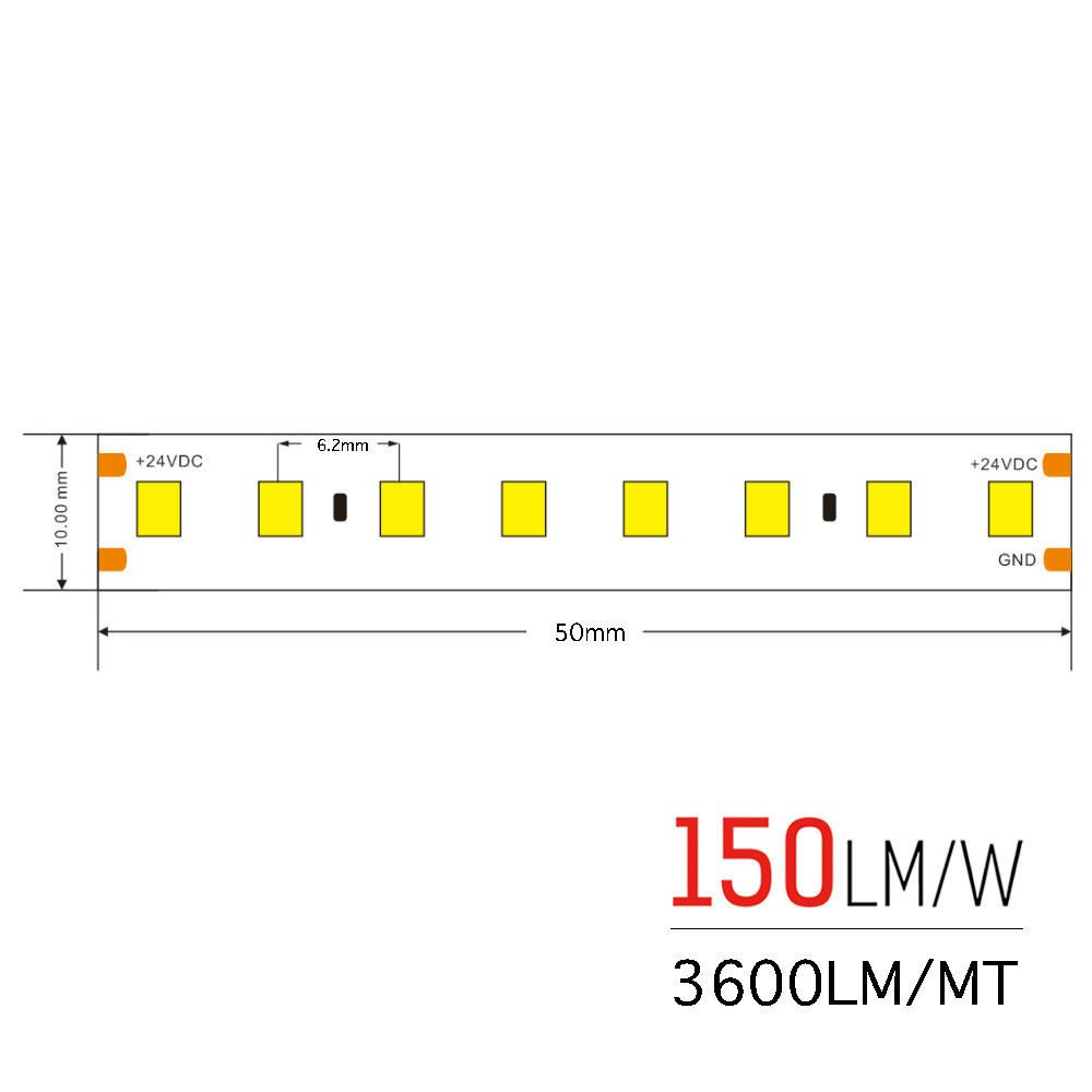 130W Luce Naturale Striscia Led Ultra Luminosa 23.9W//mt 24V IP20 PCB 10mm Bobina Da 800 SMD 2835 Codice 2632 Strip Led Serie H.E KingLed