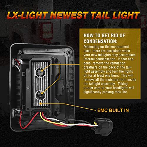 DOT Approved 4D LED Tail Lights Compatible with 2007-2017 Jeep Wrangler JK Brake Reverse Light Rear Back Up Lights Daytime Running Lamps,EMC Build-in