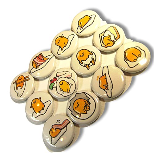 """Custom & Novelty {1"""" Inch} 12 Bulk Pack, Mid-Size Button Pin-Back Badges for Unique Clothing Accents, Made of Rust-Proof Metal w/ Funny Lazy Egg Yolk & Bacon Eat Set Adorable (Funny Button Badge Pin)"""