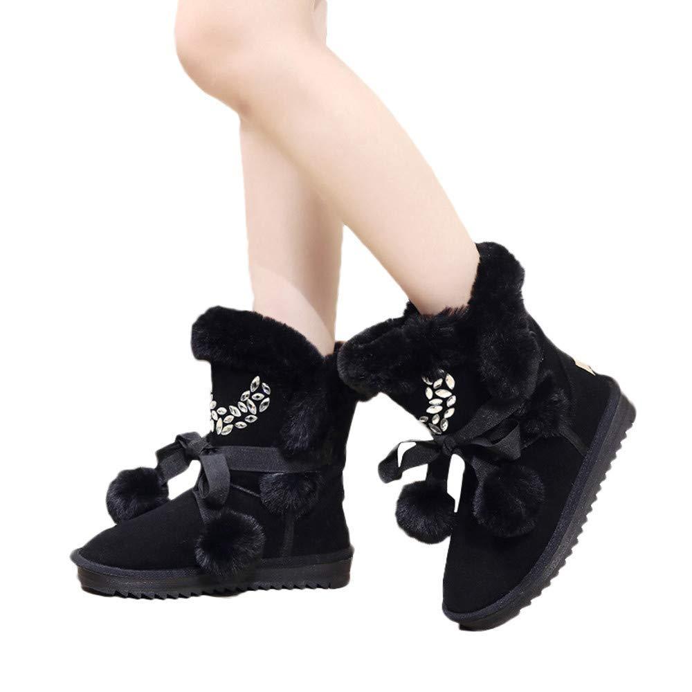 ZHRUI Damen Stiefel, Damen Winterschuh Lace-UP Warm Baumwolle Baumwolle Baumwolle Stiefel Damen Martin Kurze Schneestiefel (Farbe   Schwarz, Größe   6.5 UK) 00d3cd