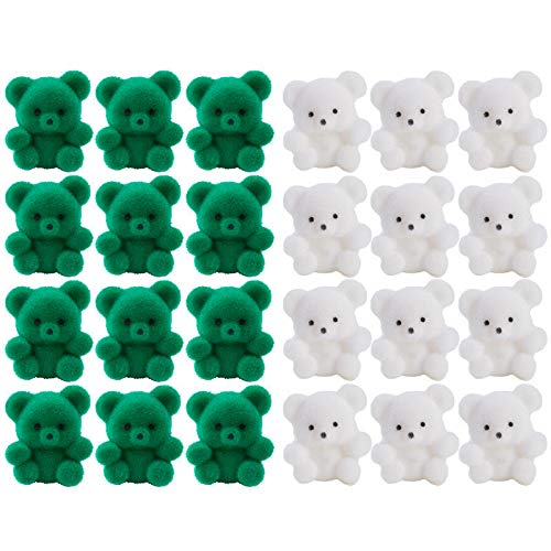 Factory Direct Craft Package of 24 Sitting St Pattys Day Flocked Miniature Teddy Bears | Tiny Bears, for Favors, Crafts and More