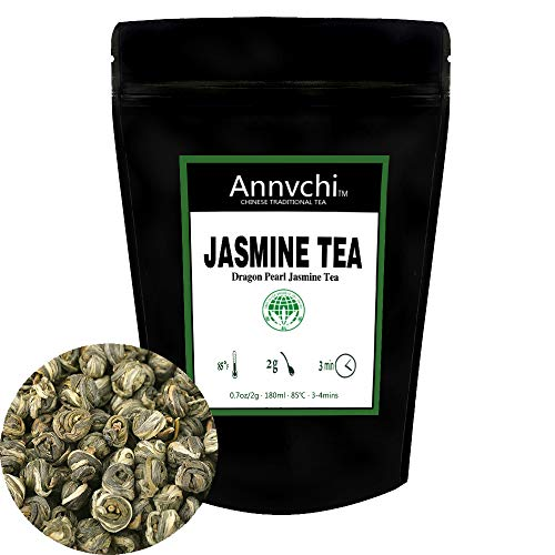 Dragon Pearl Jasmine Tea (5.3 Ounce), Green Tea Jasmine Caffeine Level Low, Chinese Senior White Jasmine Tea Pearls Loose Leaf Tea (150 Gram) … (Jasmine tea 5.3 oz)