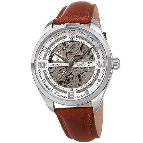 August Steiner AS8264 Men's Skeleton Watch – Genuine Leather Band, Automatic Mechanical Movement, See Through Dial (Silver & - Movement Skeleton