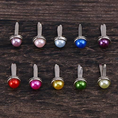 Assorted Colors Amosfun 150pcs Mini Brads Paper Fasteners Brads Pearl Brads for Scrapbooking Embellishment Crafts 6x13mm