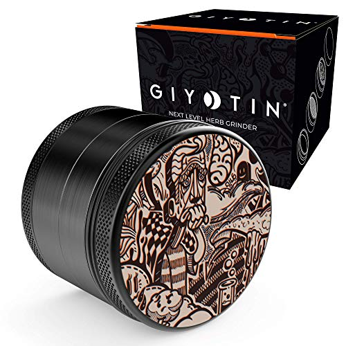 Giyotin 4 Piece Spice Herb Grinder with Pollen and Keef catchers includes Pollen scraper and Travel bag. 2.5 Anodised Aluminum Grinder (2.5 inch, Onyx Black)