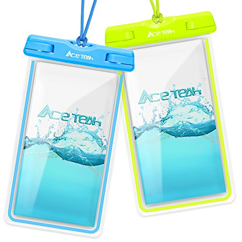 Waterproof Case, 2 Pack Ace Teah Clear Universal Waterproof Phone Pouch Underwater Dry Bag Snowproof Dirtproof for iPhone X 8 8Plus 7 7Plus 6 6SPlus Samsung Galaxy S8 S7 S6 Note 8 6 - Blue, Green (Bamboo Stylus Parts)