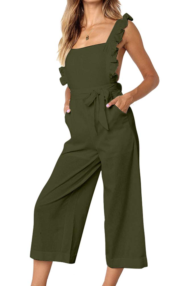 Women's sleeveless jumpsuit wide leg