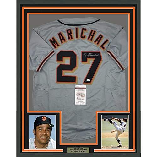 Framed Autographed/Signed Juan Marichal 33x42 San Francisco Grey Baseball Jersey JSA COA
