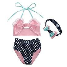 Baby Girls 3 Pcs Swimwear Dot Halter Bow Top+Bottom+Headband Swimsuit