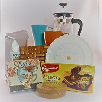 Prensa francesa café regalo Set – Tazas, Platos salvamanteles posavasos Cookies servilletas: Amazon.es: Hogar