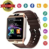 DZ09 Bluetooth Smart Watch Phone - Wzpiss Unlocked Touch Screen Smartwatch Smart Wrist Watch with Camera Pedometer Support SIM Card for iPhone IOS Samsung LG Android Phones for Men Women Kids (Gold)