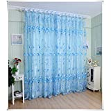 Tulip Beads Door Window Curtain Drape Sheer Valance Blue 1x2M