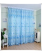 Tulip Beads Door Window Curtain Drape Sheer Valance Blue 1x2M