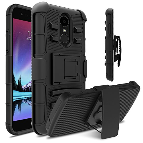 LG Fortune Case, LG Phoenix 3 Case, LG Risio 2 Case, Venoro Heavy Duty Armor Holster Defender Full Body Protective Hybrid Case Cover with Kickstand and Belt Swivel Clip for LG K4 2017 (Black)