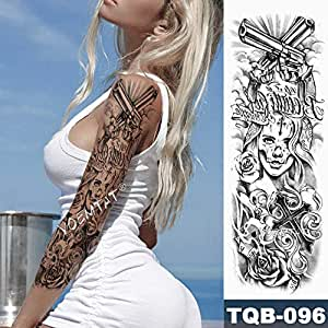 Tatuaje de manga de brazo grande León Corona Rosa Tatuaje ...