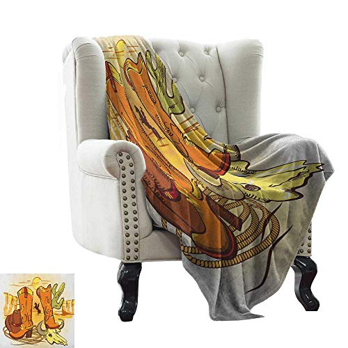 warmfamily Western,Throw Blanket,Illustration of Old Wild West Elements with Rope Shoes and Image of Cowboy Print 50