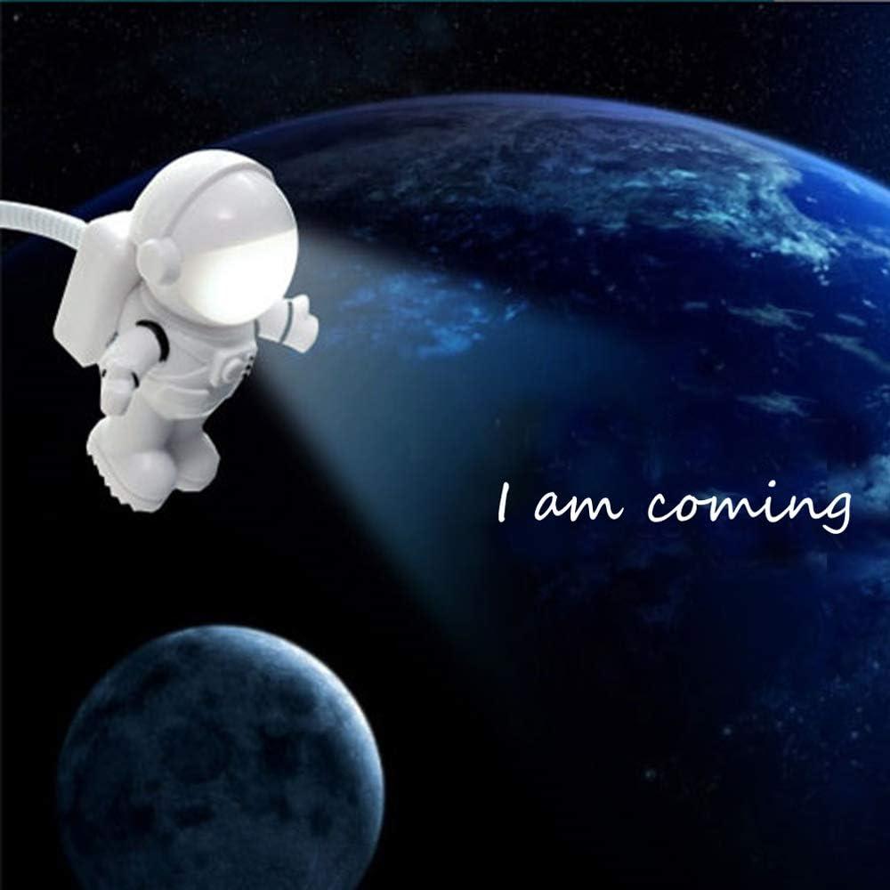 CHIYOU Creative Design Energy Saving Panda Astronaut Spaceman USB LED Night Light Computer Laptop Notebook Mini Keyboard Lamp USB Charging Port Design Flexible Bendable Hose Portable Black 2pcs