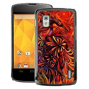 A-type Arte & diseño plástico duro Fundas Cover Cubre Hard Case Cover para LG Nexus 4 E960 (Floral Art Red Vibrant Bright)