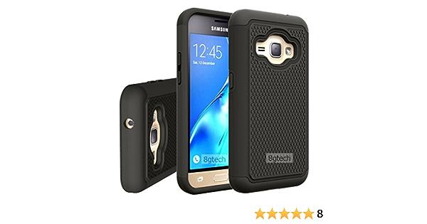 fancycellexpress Ultra résistant Noir Housse étui coque hybride rigide en silicone pour Samsung Galaxy J1 2016 sm-j120 W