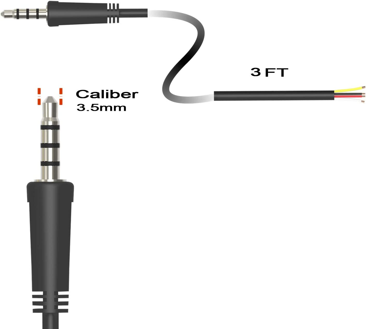12V DC Trigger ON//Off Cable Ancable 1-Pack 3.5mm 1//8 Monaural Mini Mono Plug to Bare Wire 6-Feet