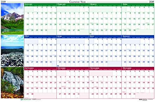 (House of Doolittle 2019 Laminated Wipe Off Wall Calendar, Earthscapes Scenic, Reversible, 24 x 37 Inches, January - December (HOD393-19))