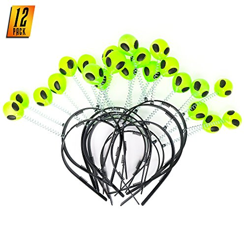 Skeleteen Alien Boppers Kids Party Favors - Glow in The Dark Headband Aliens - Pack of 12
