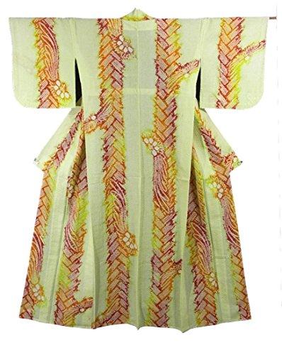 リサイクル 浴衣  絞り 綿 檜垣文と花模様 裄62.5cm 身丈158cm