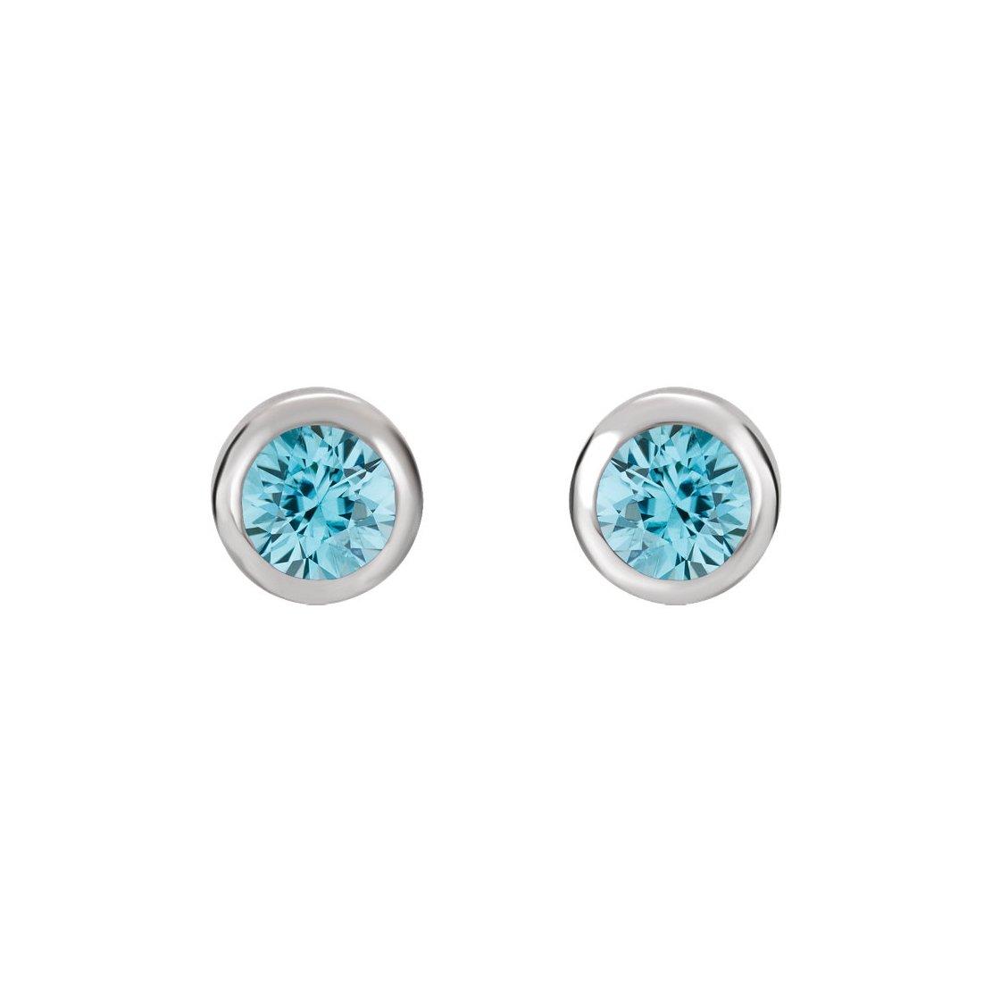 Crystal Inverness Piercing Bezel Earrings (Aquamarine)