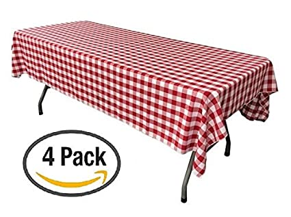 Superbe Oojami Pack Of 4 Plastic Red And White Checkered Tablecloths   4 Pack    Picnic Table