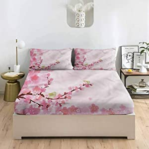 LCGGDB Nature Queen Size Bed Fitted Sheet Set,Japanese Cherry Blossom Deep Pockets Fitted Sheet with 2 Pillowcase,Print Fitted Sheet Set for Kids & Adults Bedding