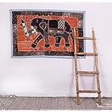 Vintage antique fine zari work Hippi patchwork tapestry handmade wall hanging