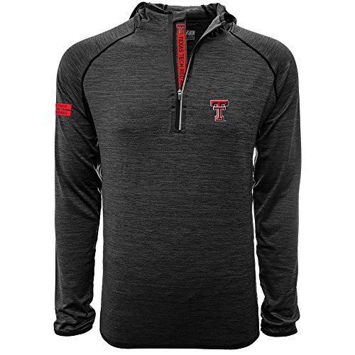 Levelwear NCAA Texas Tech Red Raiders Adult Men Apex Insignia Bold Hooded Quarter Zip Mid-Layer, XX-Large, Heather Charcoal ()