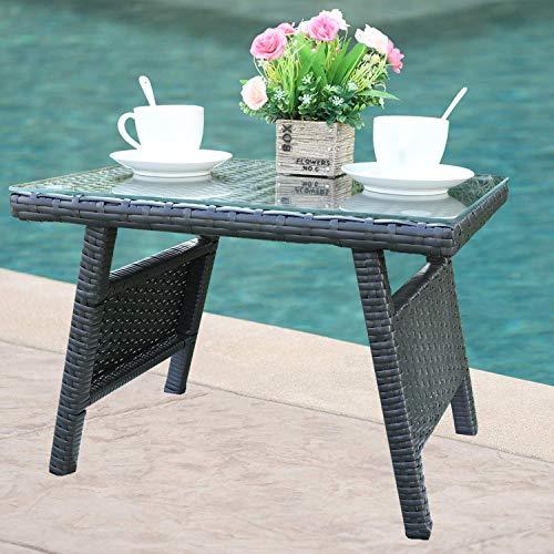 Do4U Multigrey Wicker Coffee Table/Tempered Glass Top - Modern All Weather Outdoor Patio Garden Backyard Furniture (Exp- Coffee Table)